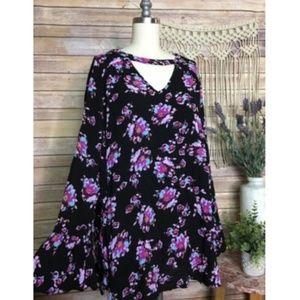 Lane Bryant Floral Black Printed Long Sleeve Top